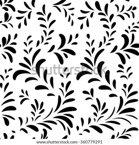 Abstract  floral pattern Leaves swirl geometric seamless texture. Stylish abstract vector plant ornamental background - stock vector