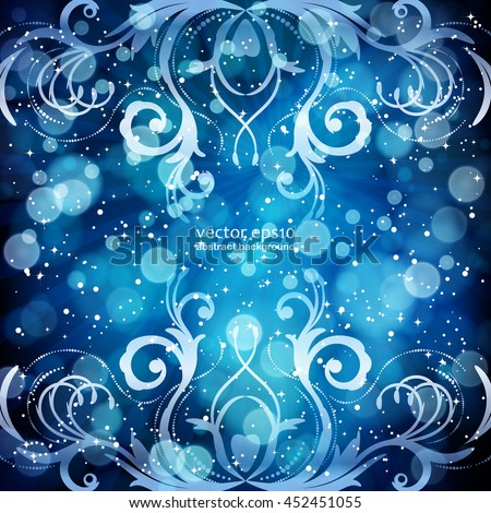 Abstract floral pattern on a blue background, made of transparent rays, stars, bokeh. Magical fantasy flowers design card.  Vector illustration. - stock vector