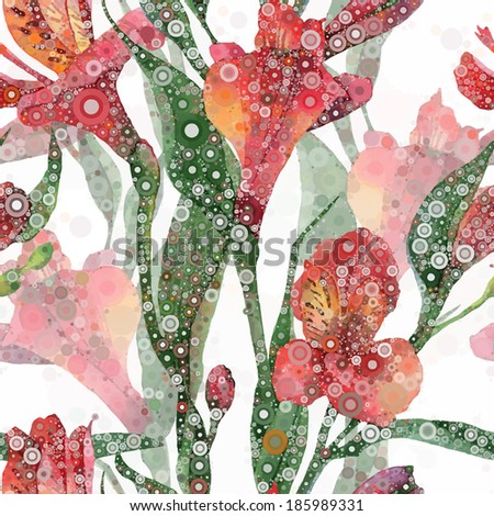 Abstract floral pattern. Vector seamless background. Red alstroemeria - stock vector
