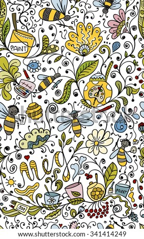 Abstract floral pattern with bees, sketch for your design. Vector illustration - stock vector