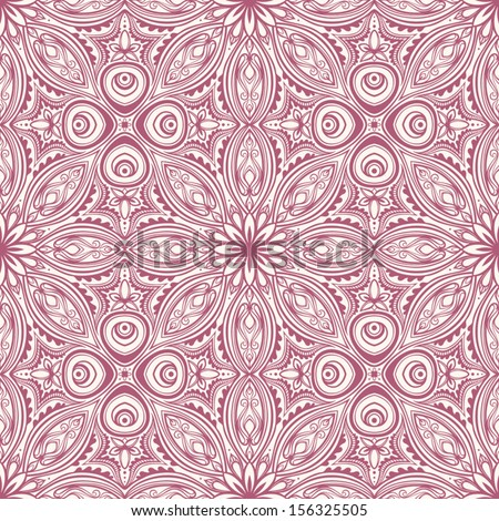 abstract floral purple seamless pattern on a beige background. vector illustration  - stock vector