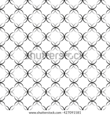 Abstract floral seamless pattern. Geometric line black ornament. Ornamental stylish background. Abstract stripe tile texture - stock vector