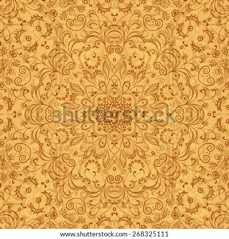 Abstract Floral Seamless Pattern, Symbolical Outline Flowers and Curves. Eps10, Contains Transparencies. Vector - stock vector