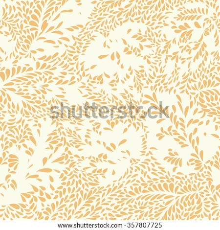Abstract floral seamless pattern with leaves  Swirl floral doodle texture. Ornamental wave  plant background. - stock vector