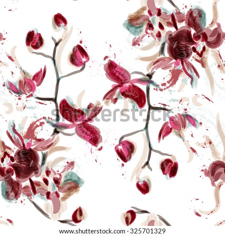 Abstract floral seamless pattern with orchid flowers painted in watercolor style by spots - stock vector