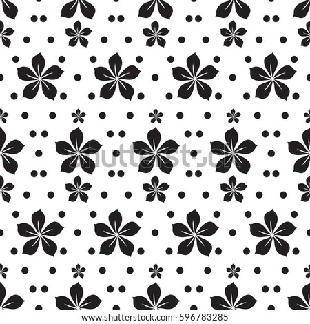 Abstract floral seamless pattern with repeating flower silhouettes and dots in monochrome natural style vector illustration