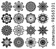 abstract floral shapes set - stock vector