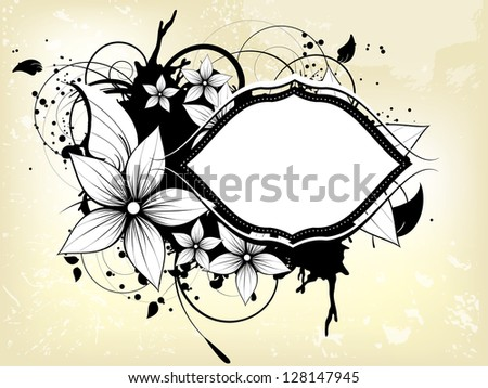 Abstract floral spring background with frame - stock vector