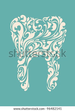 abstract floral teeth - stock vector