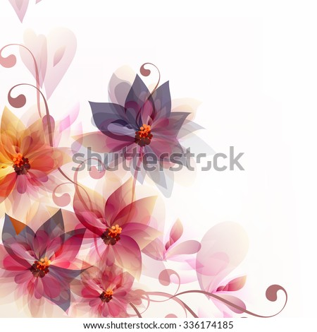 Abstract floral vector background with pink and orange flowers for backgrounds or templates designs - stock vector