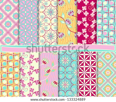 abstract floral vector set of paper for scrapbook - stock vector