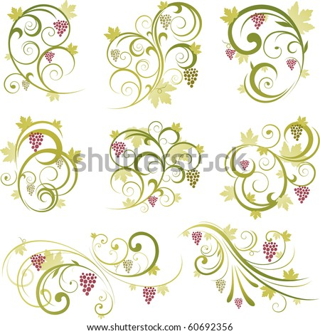 Abstract floral vine grape ornament - stock vector