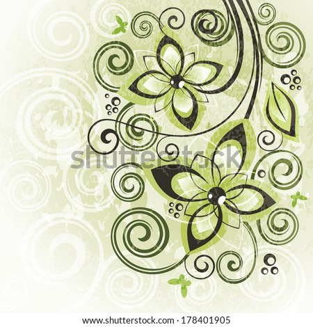 Abstract floral vintage illustration. - stock vector