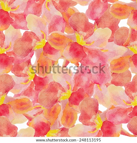 Abstract floral watercolor seamless background. Color oleander leaves background. Can be used for swimwear, web pages, identity style, printing, textile, cards, etc. - stock vector