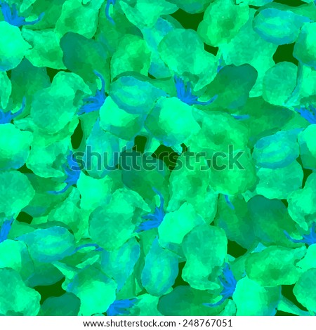 Abstract floral watercolor seamless background. Green oleander leaves background. Can be used for swimwear, web pages, identity style, printing, textile, cards, etc. - stock vector