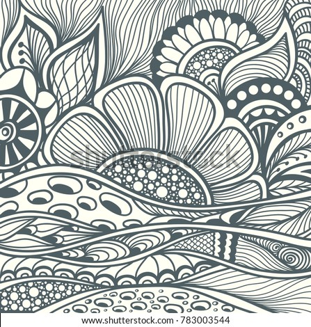 Abstract Floral Zen Tangle Background Pattern Black On White For Coloring Page Or Adult Relax