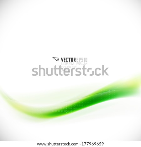 Abstract flow green line element, Vector illustration