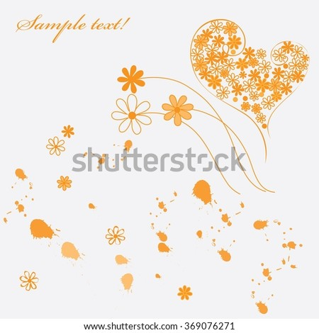 Abstract flower and heart background
