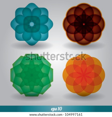 abstract flower circle vector set - stock vector