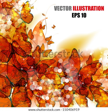 abstract flower design butterfly, easy all editable - stock vector