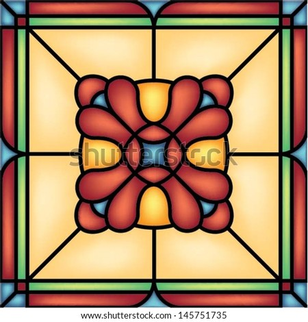 Abstract Flower in square frame, geometric seamless background, vector illustration in stained glass style - stock vector