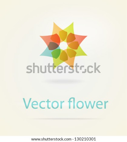 Abstract Flower logo template. Infinite shape. Geometric entwined wheels in color rainbow. Business abstract icon. As sign, symbol, logo, web, label, emblem. - stock vector