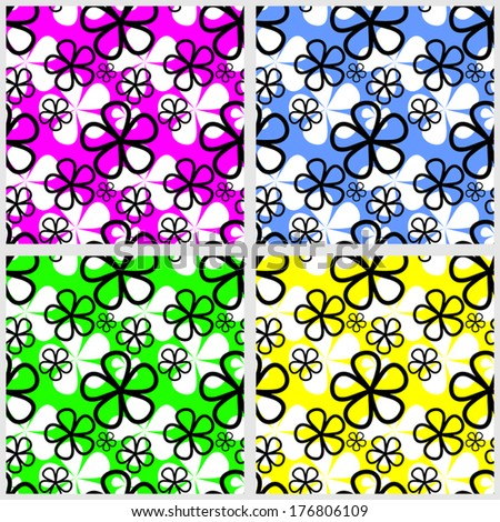 Abstract Flower seamless Pattern  in four colors.  - stock vector