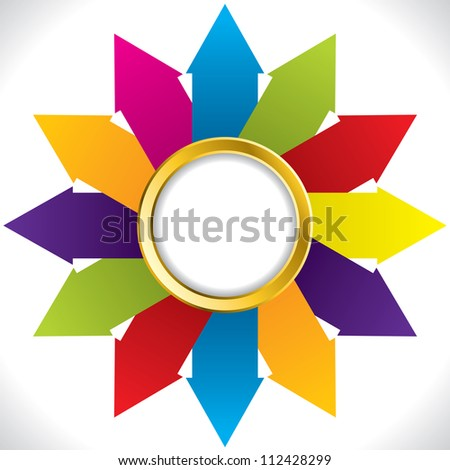 Abstract flower shaped arrow background design with golden ring - stock vector