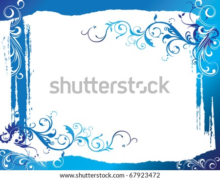 abstract flower spring illustration vector blue background - stock vector