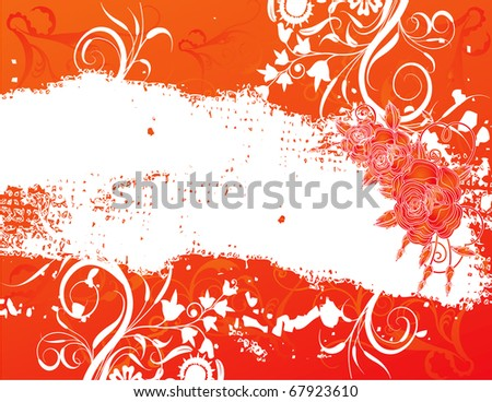 abstract flower spring illustration vector orange red background - stock vector