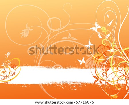 abstract flower spring illustration vector orange white background - stock vector