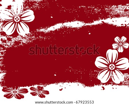 abstract flower spring illustration vector red background - stock vector