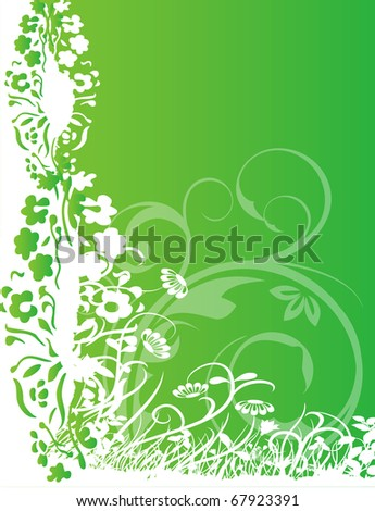 abstract flower spring summer illustration vector green background - stock vector