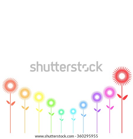 Abstract flower with colorful on isolated background, vector illustration