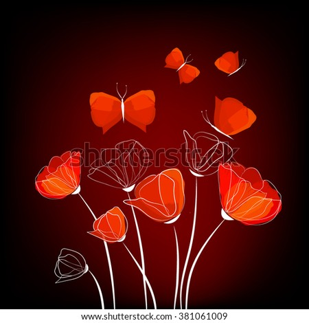 abstract flowers and Butterflies. Vector