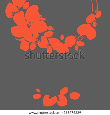 Abstract flowers background with place for your text. Vector silhouette of the flower. Beautiful greeting card with flowers. Vector party invitation with floral elements. - stock vector