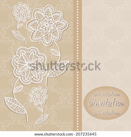 Abstract flowers in graphic style, lace frame border pattern, wedding invitation card design, floral and geometric ornament, hand drawn artwork, vector illustration - stock vector