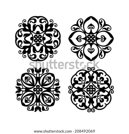 Abstract flowers, italian floral element, hand drawn design element, set of 4, vector - stock vector
