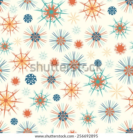 abstract flowers on a white background in seamless pattern - stock vector
