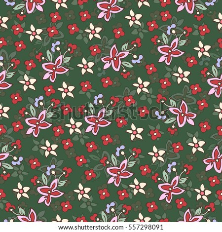 Abstract flowers seamless pattern, floral background. Fantasy multicolored simple flowers on a green backdrop. For the design of the fabric, wallpaper, prints. Vector illustration in style of boho
