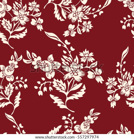 Abstract Flowers Seamless Pattern Floral Background Fantasy White On A Red Backdrop