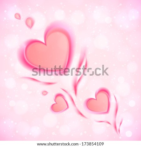 Abstract flowing hearts vector Valentines card
