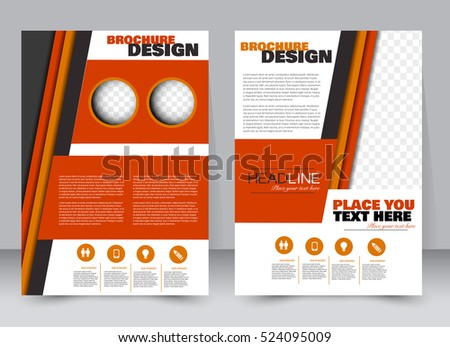 Abstract flyer design background. Brochure template. Annual report cover. Can be used for magazine, business mockup set, education, presentation. Vector illustration a4 size. Orange color
