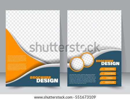 Abstract flyer design background. Brochure template. Annual report cover. Can be used for magazine, business mockup set, education, presentation. Vector illustration a4 size.  Blue and orange color