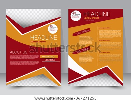 Abstract flyer design background. Brochure template. Can be used for magazine cover, business mockup, education, presentation, report. a4 size with editable elements.  Red and orange color.