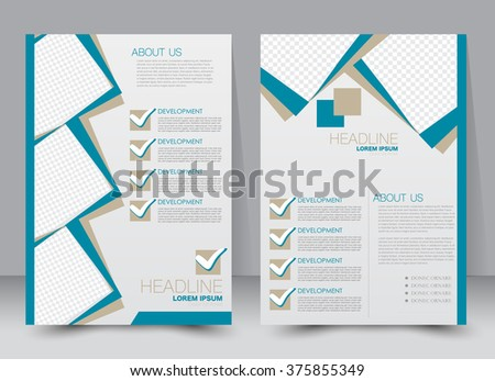 Abstract flyer design background. Brochure template. Can be used for magazine cover, business mockup, education, presentation, report. a4 size with editable elements. Blue color. - stock vector
