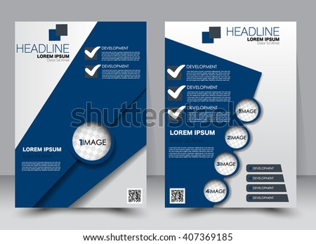 Brochure Template Geometric Triangle Blue Color Stock Vector - Editable brochure templates