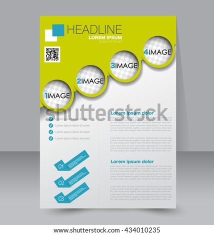 Abstract flyer design background. Brochure template. To be used for magazine cover, business mockup, education, presentation, report. Green and blue color.