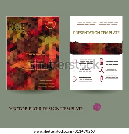 Abstract Flyer Geometric Triangular Autumn Colored, Green, Red and Yellow Modern Backgrounds - EPS10 Brochure Design Templates, Flyer Template Clean and Modern Concept , A4 format - stock vector