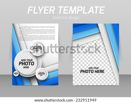 Abstract flyer template design with circles and straight lines - stock vector